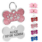Custom Personalised Bone Dog Tag Cat Puppy  ID Collar Name Tags Free Hair Bows