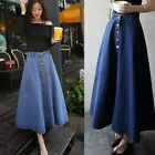 Fashion Women's Denim A-line High Waist Long Midi Flare Party Skater Slim Skirt
