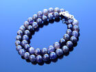 Iolite Natural Gemstone Necklace 8mm Beaded Silver 16-30inch Healing Stone