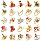 Fashion Women Cute Crystal Pearl Finger Adjustable Ring Jewelry Party Christmas