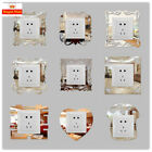 4pcs Silver Mirror Flower Light Switch Surround Wall Sticker Cover Frame Decor