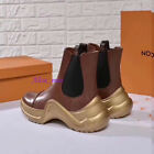 Womens Real leather shoes ankle boots gold Sole 2018Autumn Winter with Box Hi-Q