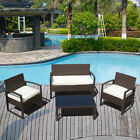 Patio Rattan Wicker Furniture Set Garden Sectional Couch Outdoor Sofa &amp; Table <br/> Sturdy Construction❉Cushion❉Clean Easily❉Black &amp; Brown❉