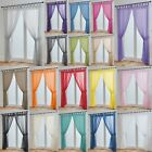 Voile+Curtain+PAIR+Plain+Tab+Top+Panel+%E2%80%93+FREE+Tieback+-+White+Cream+All+Colours