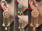 Indian Earrings Bridal Jewellery Gold Plated Jhumka Jhumki Diamante New