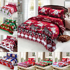 Xmas Cotton Bed Fitted Sheets Queen Bedding Cover Set Standard Pillow Cases I2S8 image