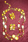 BEAUTIFUL ANTIQUE MULTICOLORED BEADED 2 STRING NECLACE AND CLIP EARRINGS