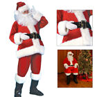 7PCS Christmas Santa Claus Costume Fancy Dress Adult Suit Cosplay Party Outfit