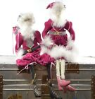 Vintage Santa Claus & Mrs Claus Christmas Figurines Handmade Doll Decorations