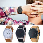 4CE7 Men Wristwatch Stainless Steel Case Leather Band Quartz Analog Watches Gift