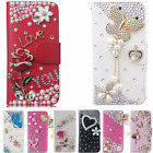 Bling Crystal Rhinestone Flowers Card Wallet PU Leather Stand Phone Case Cover