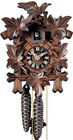 """Hand Carved 8.5"""" Bird and Leaf Black Forest Cuckoo Clock"""