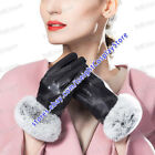 Women's Winter Leather long Gloves Black Gloves For Lady  s Warm Gloves