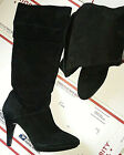 "9.5M BANDOLINO JESS DRESS KNEE BOOT POINT TOE ZIP 4"" HEEL SUEDE LEATHER BLACK"