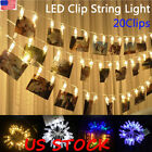 20 Led Hanging Picture Photo Peg Clip Fairy String Lights Party Home Xmas Decor