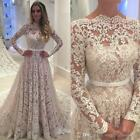 Women's Long Sleeves Lace Wedding Dresses Ball Gowns Wedding Bridal Gowns Custom