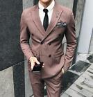 Mens Gray Double Breasted Tuxedos Slim Fit Wedding Vintage  Suit Tailored Pants