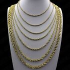 Kyпить Real 10K Yellow Gold 2mm - 6mm Diamond Cut Rope Chain Pendant Necklace 16