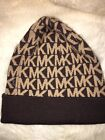 Authentic Michae Kors MK Logo Hat Brown With White Knit Winter Beanie Cuffed Hat