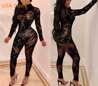 USA Women Sheer Mesh Bamboo Leaves Bodycon Club Outfit Lace Party Jumpsuit #Q7