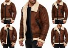 Vintage Men's Winter Jacket Young UK Fashion Flight fur Leather Look
