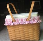 LONGABERGER MAGAZINE BASKET COMBO PERSONAL SOLUTIONS DIVIDED LINER PINK TICK 3PC