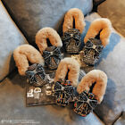Vogue Womens Rhinestone Fur Loafers Warm Flat Mules Slip On Boots Shoes Bowknot