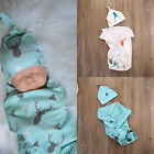 Newborn Infant Baby Swaddle Cotton Blend Blanket Boys Girls Bath Towel  Hat Set