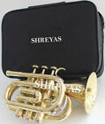 2019 NEW YEAR SALE POCKET TRUMPET Bb PITCH BRASS FINISH + CASE & M/P FREE SHIP
