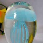 Glass Black GLOWING JELLYFISH Paperweight Glow in the Dark WITH LED BASE