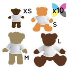 10 Blank White Teddy Bear Toy T-Shirt for Sublimation Transfer Bulk Wholesale