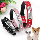 Crystal Dog Collar Soft Leather Personalised Engraved Collar for Pitbull XS S M