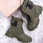 Cape Robbin UTILITY Olive Lace Up Buckle Strap Chunky Sole Utility Sneaker Boot