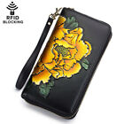 Women Genuine Leather Floral Clutch Wallet Phone Card Holder RFID Blocking