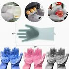 Kyпить Pair Magic Silicone Dish Washing Gloves Kitchen Scrubber Cleaning Heat Resistant на еВаy.соm