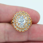 18K Yellow Gold Filled Clear Crystal Topaz Gems Luxury Wedding Ring Jewelry image