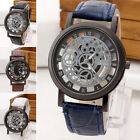 Skeleton Mens/Womens Leather Band Stainless Steel Analog Quartz Wrist Watch GX image
