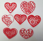 Внешний вид - Intricate Heart Hearts Paper Die Cut Valentines Embellishment Scrapbook 7 pc