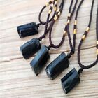 10/5pcs Raw Natural Black Tourmaline Schorl Pendant Crystal Chunk Stone Necklace