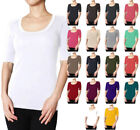 Scoop Neck Elbow Sleeve Cotton Blend T Shirt Top S ~ L