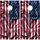 Cornhole Board Vinyl Decal Wraps Patriotic Flag High Quality Bag Toss Set USA