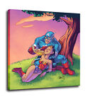 Captain America and Wonder Woman Print Art Hero Wall Decor Movie Canvas Painting