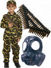 Army Boys Soldier Action Man Fancy Dress Costume Outfit with Gas Mask + Bullets