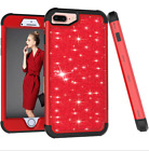For iPhone 7 8 Plus XR XS MAX Case Glitter Bling Hybrid Rubber Protective Red