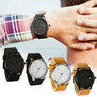 Fashion Men Stainless Steel Sport Watches Leather Band Quartz Analog Wrist Watch image