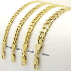 Mens 14kt Yellow Gold Plated Width 5 6 8 10mm Concave Cuban Link Chain Necklace image