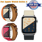 Leather Double Tour iWatch Strap Replacement Band for Apple Watch Series 4 #US image