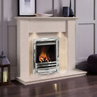 GAS CREAM MARBLE STONE MODERN WALL SURROUND & LIGHTS CHROME FIRE FIREPLACE SUITE
