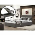 Grey Fabric Ottoman Gas End Lift Storage 3FT Bed single With Mattress Options