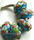 Wholesale Silver Lampwork Murano Glass Beads Fit European Charm Bracelet TF102